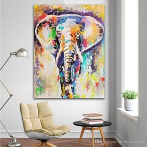 Wholesale colorful abstract art oil paintings resale online - Colorful Elephant Handpainted HD Print Modern Abstract Animal Art Oil Painting On Canvas Wall Art Home Decor High Quality a73 vA
