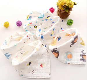 Wholesale 8 layers Baby Newborn INS print Bibs Infant Triangle Scarf Toddlers muslin Cotton Bandana Burp Cloths
