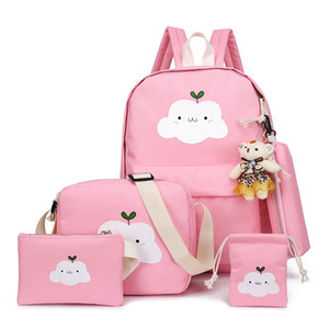 New children's backpack student men and women shoulder bag cloud cartoon big schoolchildren school bag on Sale