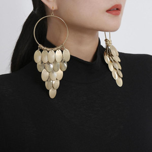 Wholesale Fashion Drop Earring Jewelry Accessories Women Long Statement Earring Pendientes Jewellery Gold Silver Punk Tassel Earrings