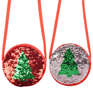 Wholesale flip coin resale online - Pink Sugao hot sales child coin purse designer circle shoulder bag small crossbody bags Sequin Christmas Tree Flip Child Coin Purse