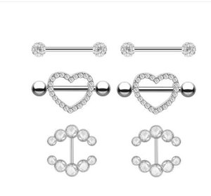 Wholesale 2pcs Fashion Barbell Nipple Ring Piercing Bar Rings Jewelry Creative Punk Body Jewellery High Quality Zircon Heart Rings Women