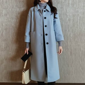 Wholesale Women Wool Blends Coat Jacket Women s Fall Autumn Winter Korean Leisure Overcoat Long Elegant Jackets Coats Blend Sky Blue Tops