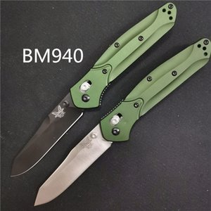 "Benchmade BM940 BM 940-S Osborne Folding Knife 3.4"" S30V Satin Plain Blade, Purple Anodized Spacer titanium,Green Aluminum Handles bm knife on Sale"