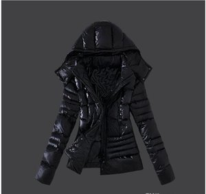 Wholesale Hot French fashion Designer Women s Winter Down Jacket Women Black white Slim Coats Thicken Parka Down Coat Hooded Parkas