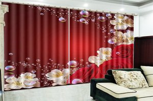 Wholesale Photo Curtain Promotion Fantasy Bubbles Bright Red Rose Customize Your Favorite Beautiful Blackout Curtains For You
