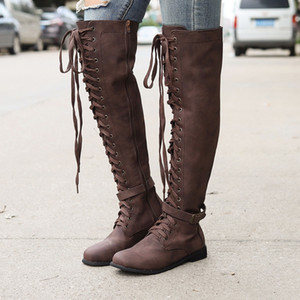 Wholesale SHUJIN Women s Long Boots Thigh High Boots Suede Leather High Heels Lace Up Female Over The Knee Fashion Women Shoes