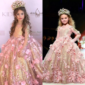 Wholesale 2019 Princess Pink Crew Neck A Line Tulle Flower Girl Dresses with Gold Sequins Sheer Long Sleeves Lace Flowers Girls Pageant Gowns BC2069