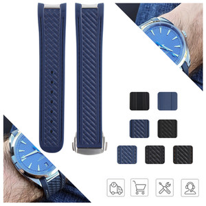 20mm Watch Strap Bands Men Blue Black Waterproof Silicone Rubber Watchbands Bracelet Clasp Buckle For Omega AT150 Sea 300 Tools