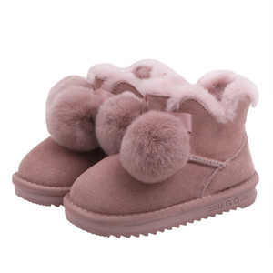 Wholesale Baby Girl Snow Booties Kids Thicken Cotton Shoes Lovely Fur Ball Pure Color Thick Bottom Anti Slip Warm Comfortable SX296