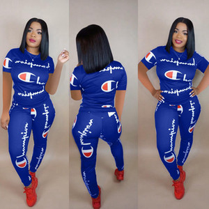Wholesale 2019 Women Champions Letter Tracksuit Short Sleeve T-shirts + pants 2 pieces set Summer Outfit Tee Sportswear Brand Joggers S-3XL hot B2282