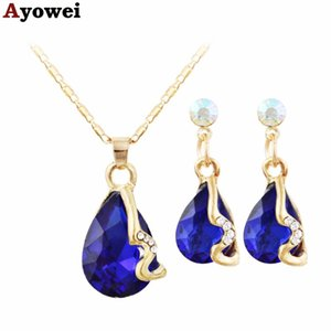 Wholesale Ayowei royal blue water drop shape gold zircon set spring carnival jewelry pendant necklace earrings anniversary gift JS819A
