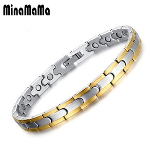 Wholesale Gold Color Thin Stainless Steel Energy Health Magnetic Bracelets For Women Medical Ion bracelets Jewelry
