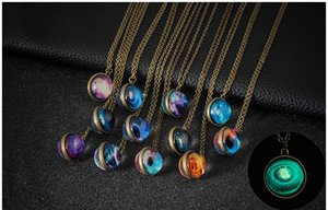 Wholesale Europe and the United States hot handmade starry sky glass pendant glass ball necklace luminous jewelry sweater chain accessories spot whole