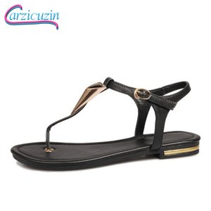 Wholesale Carzicuzin Real Leather Metal Buckle Spring Summer Sandals Women Youngs Simple Daily Dating Summer Beach Shoes Size