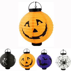 Wholesale festive lanterns resale online - Festive Halloween LED Paper Pumpkin Ghost Hanging Lantern Light Holiday Party Decor