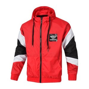 Wholesale Brand Mens Jackets Designer Windbreaker Striped Letter Print Thin Coat Autumn Zipper Jackets Running Sportswear Hoodies White Red B100084L