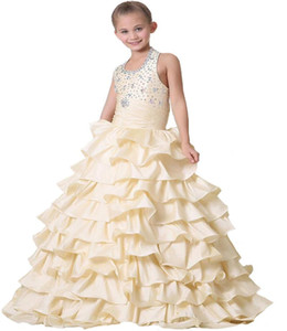 Beading Halter Champagne Ruffle Custom Cute Little Flower Girl Dress Floor Length Hand Made Flowers Bows Kids Prom Birthday Dress Cheap on Sale