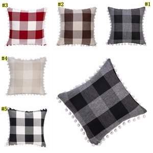 Tassel Pillowcases Pompom Ball Decorative plaid Cushion Cover Grid 5 Colors Square Pillow Case For Sofa Chair Car 45*45cm MMA1869