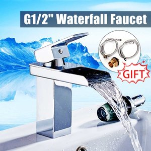 Wholesale Modern Brass Chrome Mixer Tap Bathroom Waterfall Basin Sink Faucet With Stainless Steel Pipe Cold And Hot Water