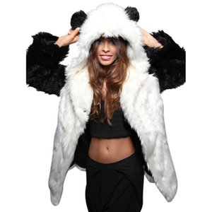 Wholesale Faux Fur Jacket Hooded With Bear Ear Cute Warm Thick Coat Winter Women Long Sleeve Outerwear Overcoat Parka Plus Size X Q1779