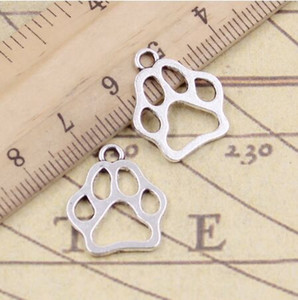 Wholesale 100pcs Tibetan Silver Plated dog bear paw Charms Pendants for Jewelry Making DIY Handmade Zinc Alloy Craft x17mm