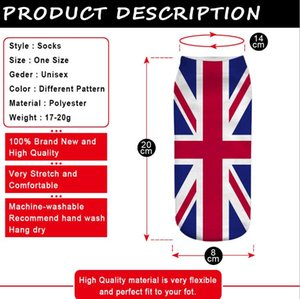 Wholesale outdoor soccer flags resale online - Fashion Funny Cotton Socks Men Women Crew short Happy Sock Male summer outdoor Cartoon Print Flag Socks