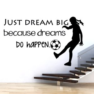 NEW Quotes Big Dream Girl Of Football Wall Stickers Personalized Creative For Living Room Kids Room For Girls Bedroom Decor