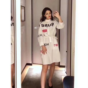 Wholesale 2019 autumn and winter counters jointly sold new style cotton waist shirt dress Kang Li digital direct spray printing process