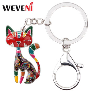 Wholesale WEVENI Enamel Metal Cartoon Cat Key Chains Keychains Rings Cute Animal Jewelry For Women Girls Pet Lovers Bag Car Pendant Charms