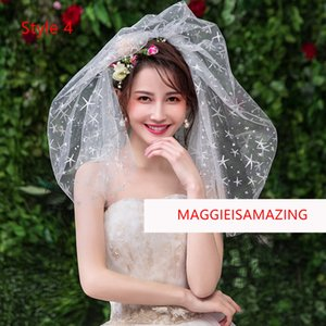 Wholesale MAGGIEISAMAZING four layer shoulder length short veil for bridal lace Bridal Veils REAL PICTURE XTS1903004022