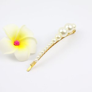 Wholesale woman handmade curve pearl hair clip fashion hair accessories mixture size beaded barratte shiny hairpins gifts