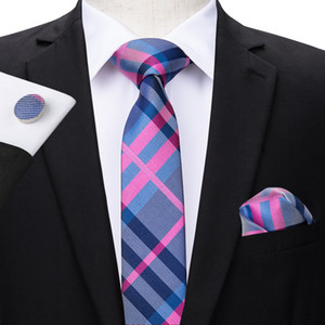 Hi-Tie Fashion Slim Tie Stripe Skinny Narrow Silk Jacquard Woven Neckties Tie Hanky Cufflinks Set For Men Wedding Party Groom Suit N-3100