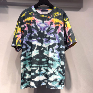 Wholesale FALECTION 19SS ITALY FASHION HOT SUMMER BEST L ALL OVER TIE DYED HEAVY COTTON T-SHIRT