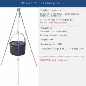 Wholesale fire stove resale online - Outdoor Camping Hanging Camping Stove Fire Triangle Bracket Picnic BBQ Cooking Tripod Pot Grill Stand Holder