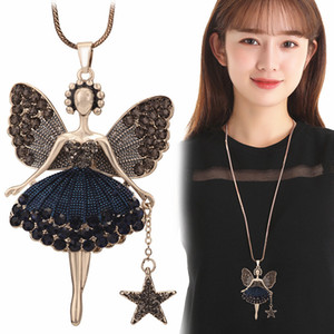 Wholesale Statement Neclaces Sweater Chain Pendant Enamel Jewelry Maxi Neclace Alloy Enamel Dance Girl Fairy Angel Necklace