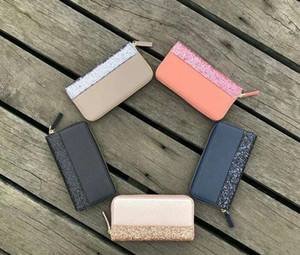 Wholesale 2019NEW Sequined wrist band wallets shining new zipper cluth bag colors shining for women Leisure Hand Lady Wallet Long Wallet