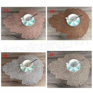 Wholesale 4styles PVC Leaf Simulation table Coasters mat Placemat for dining Plant Cup Coffee Table Mats Hollow Out Kitchen Home Decor Gifts FFA3767
