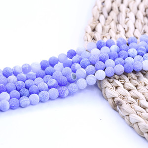 Wholesale Light Blue Weathered Agate Matte Beads inch strand per set Round Gemstone Beads Provide Sample For Jewelry Diy