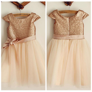 2019 Bling Bling Rose Gold Sequins A-Line Flower Girls Dresses Ribbon Short Formal Kids Party Gowns Tea-Length Tulle Birthday Gowns Simple on Sale
