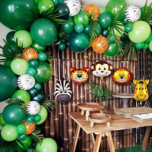 animales de la selva al por mayor-Fiesta Temática Animal Balloons Garland Kit Jungle Safari favores de la ducha decoraciones para niños fiesta de cumpleaños de bebé