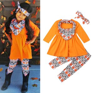 Wholesale halloween bibs for sale - Group buy Halloween Thanksgiving Baby Clothing Sets Boys Girls Pumpkin Turkey Print Long Sleeve dress Top Trousers Bibs Scarf Infants Outfits M2301