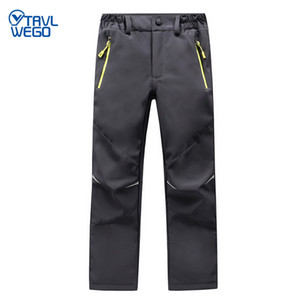 TRVLWEGO Ski Pants Hiking Camping Sports Winter Boy Girl Night Glow Waterproof Breathable Soft Shell Thick Snow Pants Kids