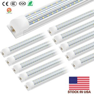 Wholesale cree stock resale online - LED tubes lights ft ft Integrated V Shaped D Shaped Double row W W Cree Led Fluorescent lighting AC85V V US stock
