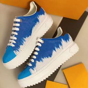 Top Quality Women Platform Time Out Sneaker Top Calfskin Leather Lace-up Shoes Runner Trainers 3D Monogram Flowers Sneakers with Box
