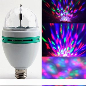 Wholesale led color rotating lamp bulb resale online - 3W E27 RGB Bulb lighting Full Color LED Crystal Stage Light Auto Rotating Stage Effect DJ lamp mini Stage Light with Retail box