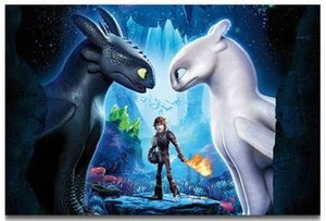 dragões dos desenhos animados venda por atacado-How to Train Your Dragon New animados Wall Art Filme Decor Silk Imprimir Poster JuS4
