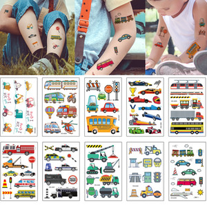 Wholesale stickers for racing decal for sale - Group buy Waterproof Temporary Body Art Tattoo Sticker for Kid Airplane Car Bus Racing Excavator Transportation Decal Design Cartoon Cute Tattoo Toys