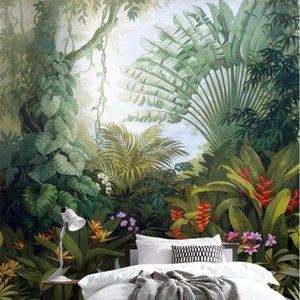 Wholesale landscaping drawing resale online - beibehang wallpaper medieval hand drawn tropical rainforest plant landscape tv background wall living room bedroom d wallpaper