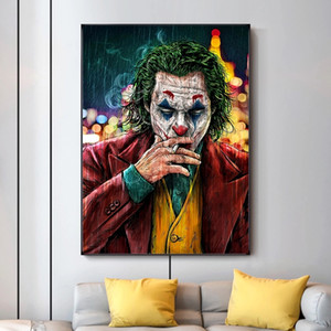 Wholesale comic art painting resale online - Movie Star The Joker Oil Canvas Painting Poster Prints Joker Comic Wall Art Picture for Living Room Home Decor No Frame